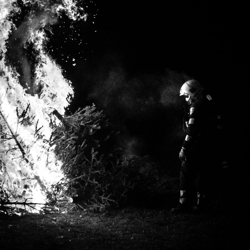 Fireman with christmas tree