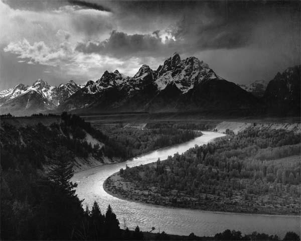 Snake River overlooking mount teton by Ansel Adams